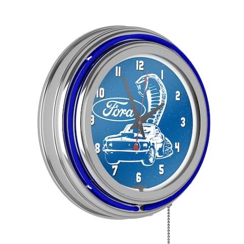 Ford Chrome Double Rung Neon Clock - Cobra