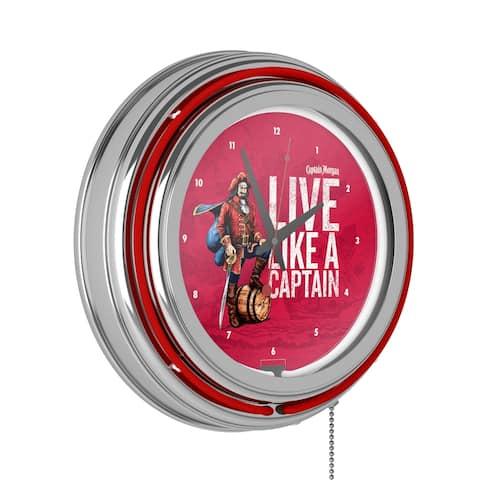 Captain Morgan Chrome Double Rung Neon Clock - Captain Morgan