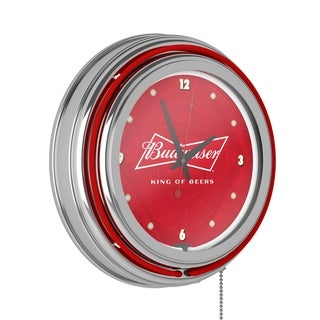 Budweiser Chrome Double Rung Neon Clock - Bow Tie - Bow Tie
