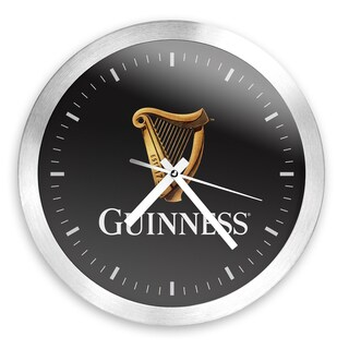 Guinness 12 Inch Brushed Aluminum Wall Clock - Harp
