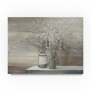 Julia Purinton 'Pussy Willow Still Life Gray Pots' Canvas Art