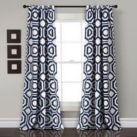 Lush Decor Octagon Blocks Room Darkening Window Curtain Panel Pair - 52x84