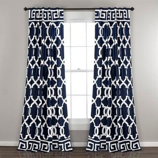 Lush Decor Maze Border Navy/ White Room Darkening Window Curtain Panel Pair