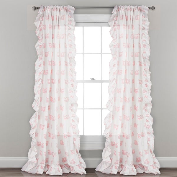 "Lush Decor Ruffle Fox Window Curtain Panel Pair - 52""W x 84""L"