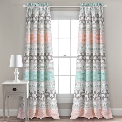 "Taylor & Olive Hubbard Elephant Stripe Room Darkening Window Curtain Panel Pair - 52""W x 84""L"