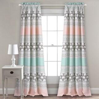 "Taylor & Olive Hubbard Elephant Stripe Room Darkening Window Curtain Panel Pair - 52"" x 84"""