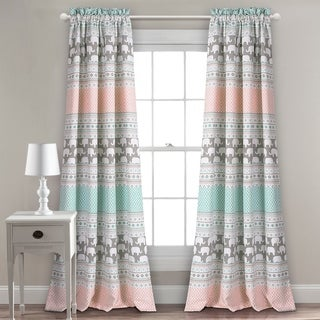 Lush Decor Elephant Stripe Room Darkening Window Curtain Panel Pair