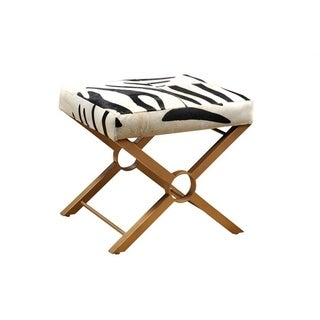 Studio Stool Black/White/Gold Tone Faux Leather/Metal Zebra Hide