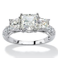 Princess-Cut Created White Sapphire 3-Stone Ring 4.47 TCW in Platinum over Sterling Silver