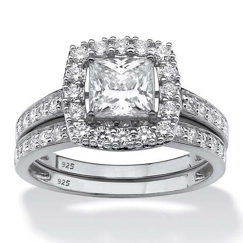 Platinum over Sterling Silver Created Sapphire Halo Bridal Ring Set