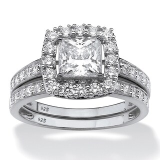 Princess-Cut Created White Sapphire 2-Piece Halo Wedding Ring Set 2.60 TCW in Platinum over Sterling