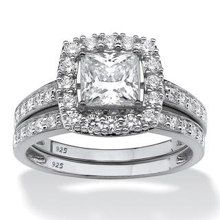 Princess Cut Created White Sapphire 2 Piece Halo Wedding Ring Set 260 TCW In