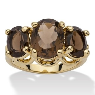 4.90 TCW Oval Cut Genuine Smoky Quartz Yellow Gold-Plated 3-Stone Ring