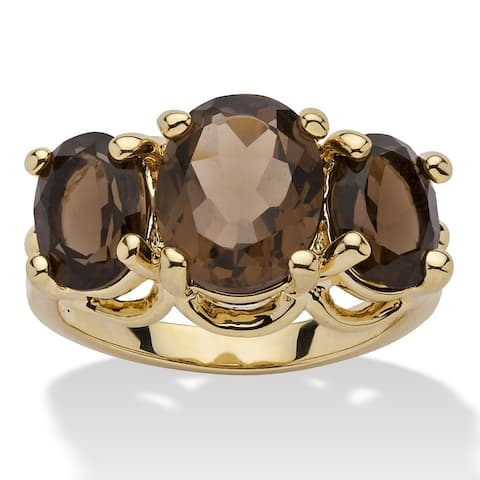 Yellow Gold-Plated Genuine and Smoky Quartz 3-Stone Ring