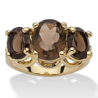 Link to Yellow Gold-Plated Genuine and Smoky Quartz 3-Stone Ring Similar Items in Fashion Jewelry Store