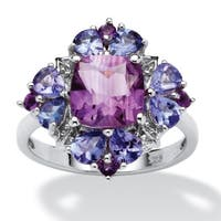 3.10 TCW Cushion-Cut Amethyst and Tanzanite Ring in Platinum over Sterling Silver