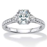 Platinum over Sterling Silver Created Sapphire Engagement Ring