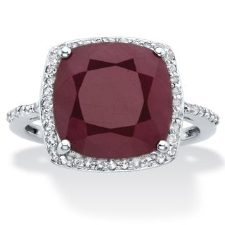 Sterling Silver Genuine Red Ruby And Round Genuine Topazs Ring