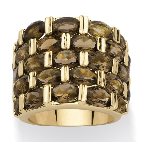 Yellow Gold-Plated Genuine and Smoky Quartz Ring. Opens flyout.