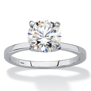 Platinum over Sterling Silver White Sapphire Engagement Ring