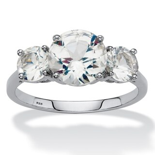 Platinum over Sterling Silver White Sapphire 3 Stone Engagement Ring