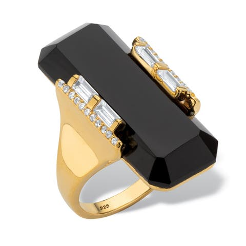 18K Yellow Gold over Sterling Silver Onyx and Cubic Zirconia Ring