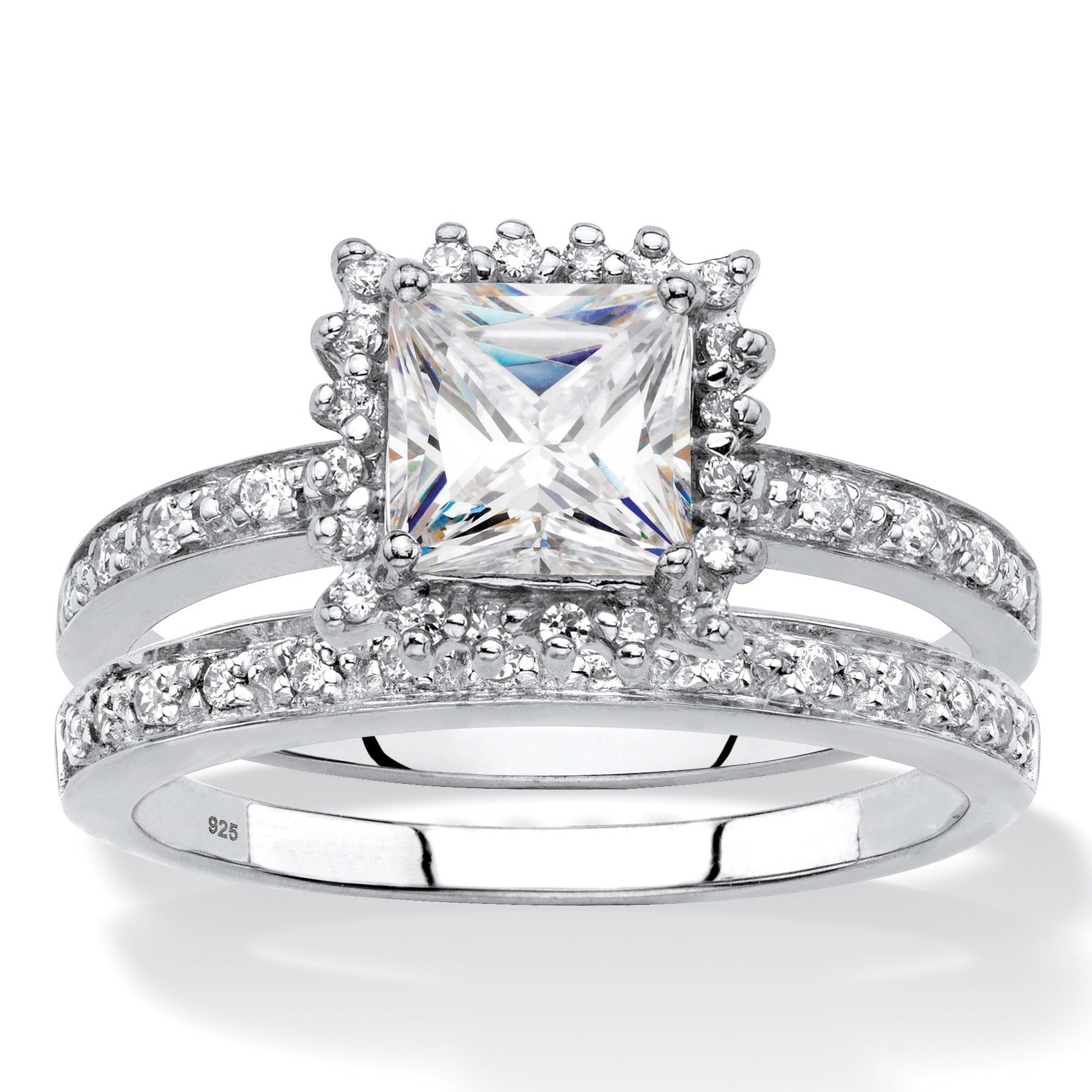 Palm Beach Princess-Cut Created White Sapphire and Genuin...