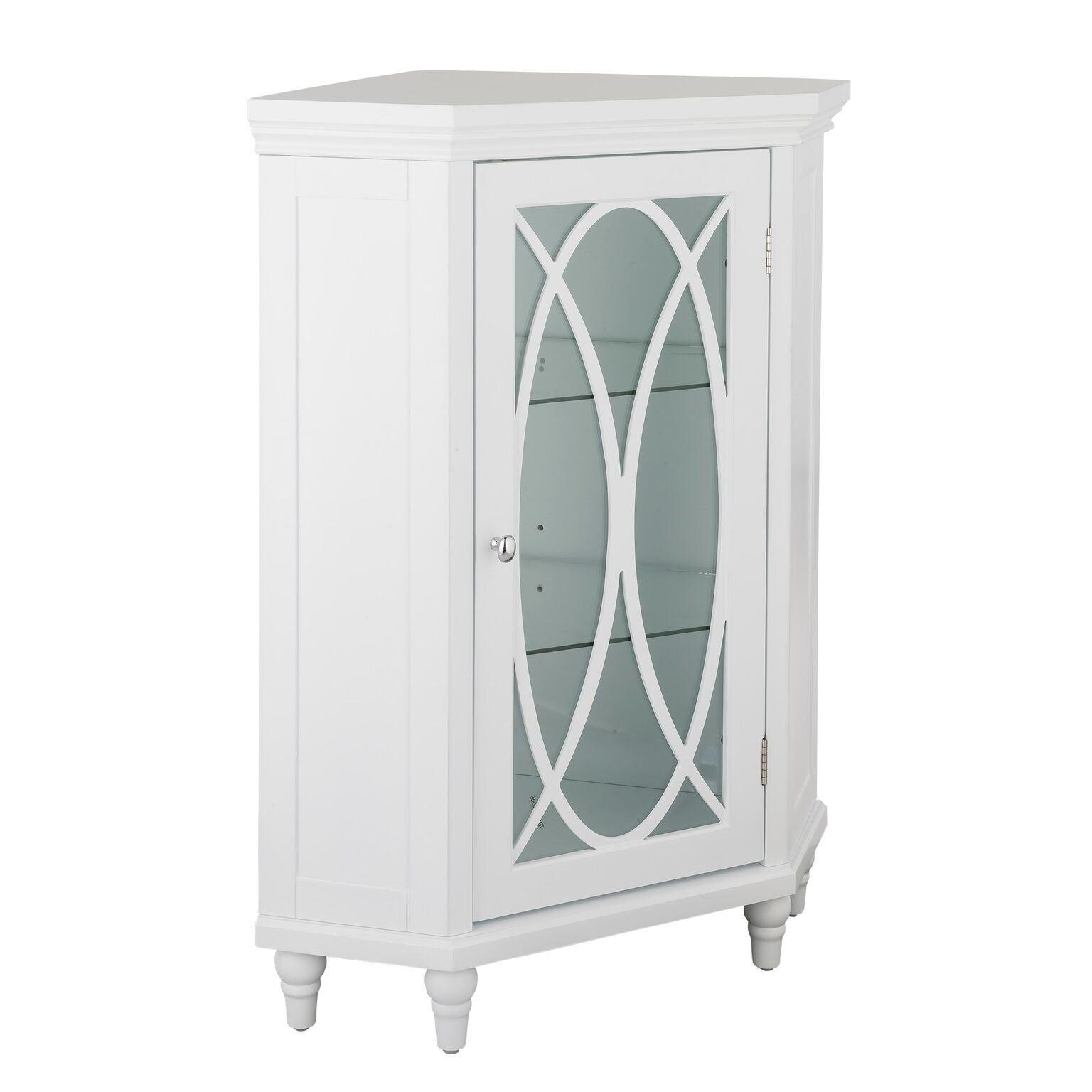 32 H Lynne Corner Floor Cabinet With 2 Adjustable Tempered Glass Shelves On Sale Overstock 18702757