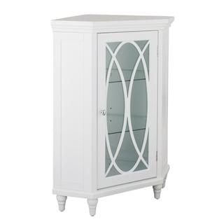 """32""""H Lynne Corner Floor Cabinet with 2 adjustable tempered glass shelves"""