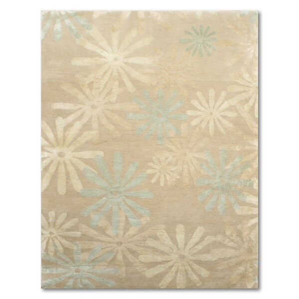 Shop Beige Wool Hand Knotted Oriental Persian Area Rug 6: Shop Persian Design Beige/Aqua Blue/Multicolor Wool Hand