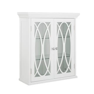 """24""""H Lynne Two Doors Wall Cabinet with 2 adjustable tempered glass shelves"""