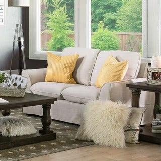 Furniture of America Nis Transitional Linen Fabric Slipcover Loveseat