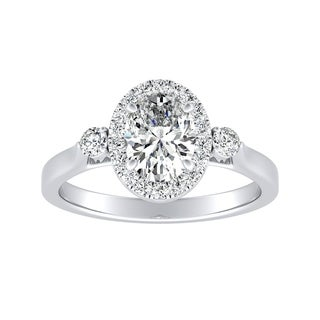 3 Stone Halo Oval Diamond Engagement Ring 1ctw Platinum By Auriya