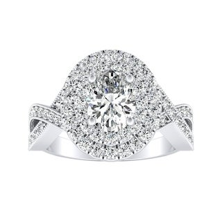 Auriya Platinum 1 3/8ct TDW Oval Diamond Double Halo Engagement Ring - White G-H