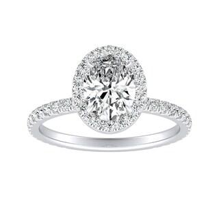 Auriya Platinum 1 1 3ctw Oval Cut Halo Diamond Engagement Ring
