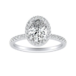 Platinum 1 1/3ct TDW Oval Diamond with Halo Engagement Ring by Auriya