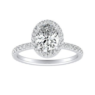 Auriya Platinum GIA Certified 1 3/8ct TDW Oval Halo Diamond Engagement Ring