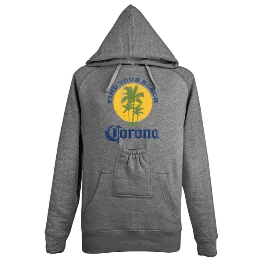 Shop Corona Extra Find Your Beach Beer Pouch Hoodie Overstock 18702990
