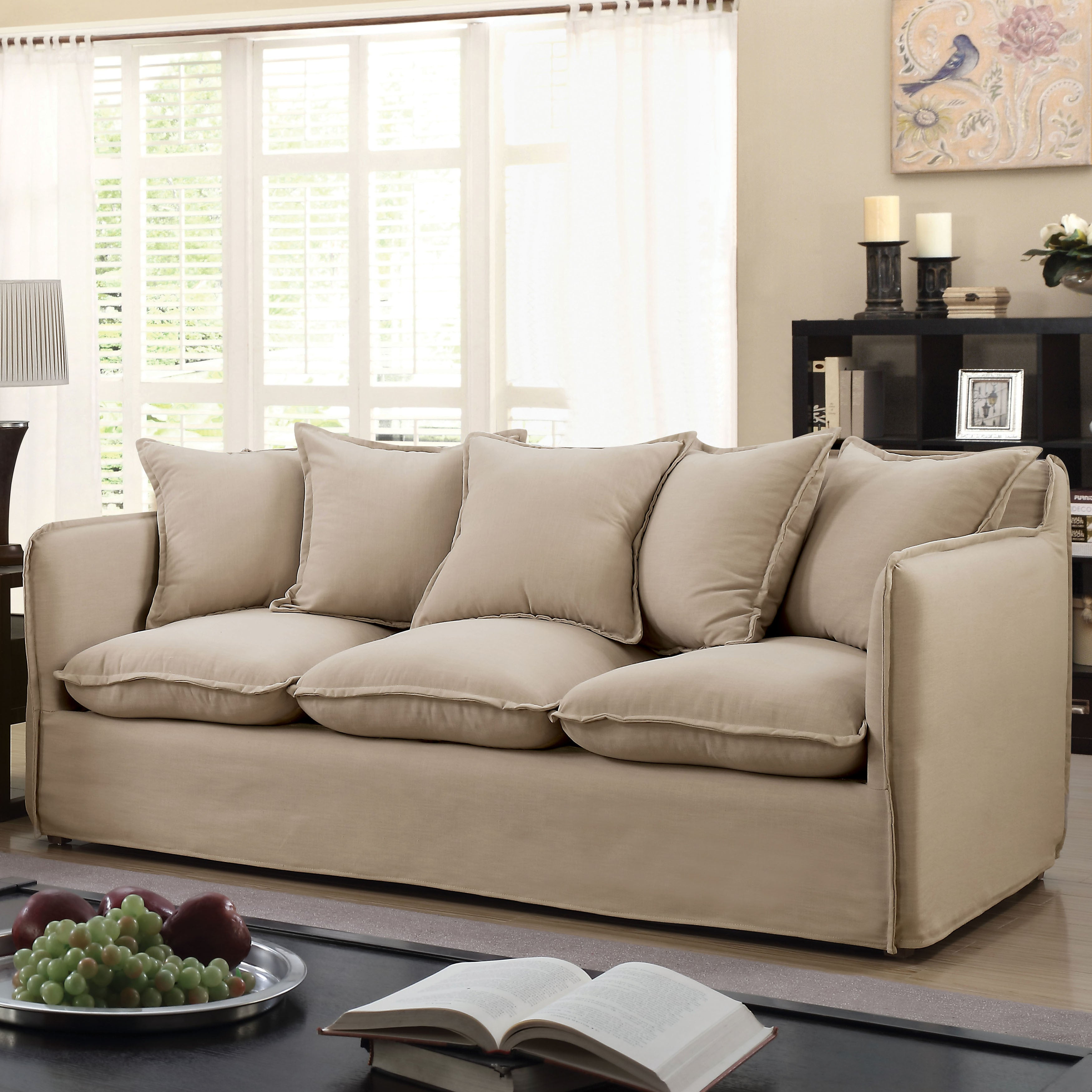 Furniture Of America Rass Boho Shabby Chic Linen Fabric Sofa