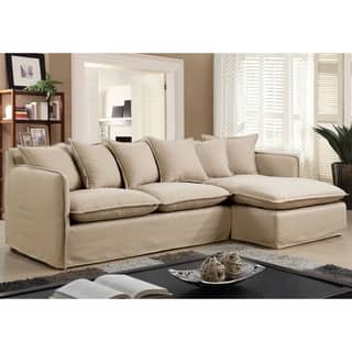 Furniture Of America Telermon Clic Slipcover L Shaped Wooden Sectional With Linen Upholstery And Foam