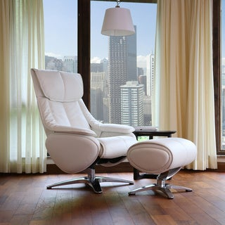 Gravity Reclining White Leather Swivel Chair and Ottoman
