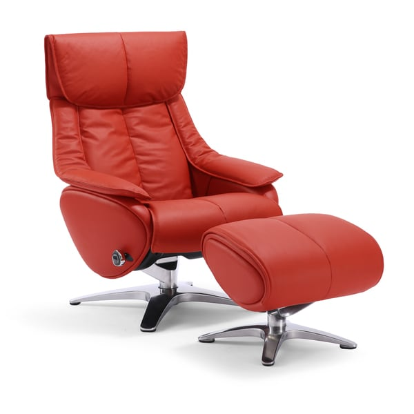 Gravity Reclining Red Leather Swivel Chair And Ottoman