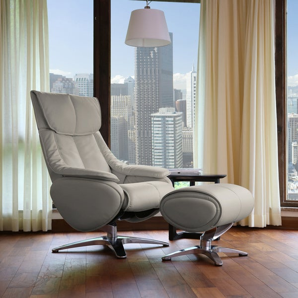 Shop Gravity Reclining Grey Leather Swivel Chair And