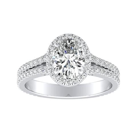 Auriya Platinum 1 5/8ctw Classic Oval-cut Halo Diamond Engagement Ring