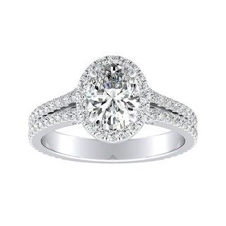 Auriya Platinum GIA Certified 1 5/8ct TDW Oval Halo Diamond Engagement Ring