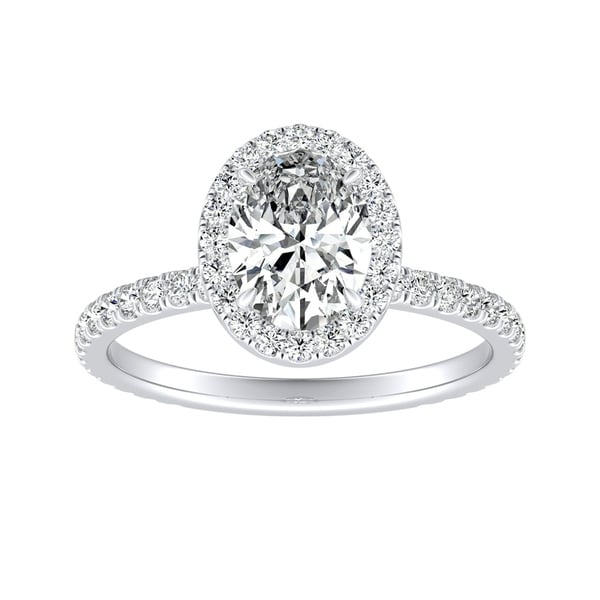 f6ed64b7767f8 Shop Platinum 1 3/5ct TDW Oval Diamond with Halo Engagement Ring by ...