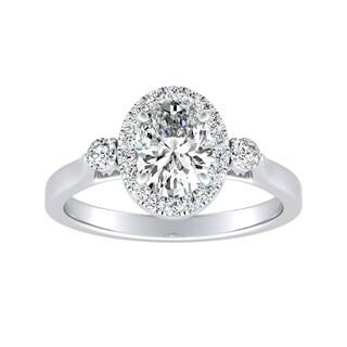 3 Stone Halo Oval Diamond Engagement Ring 1 1 4ctw Platinum By Auriya
