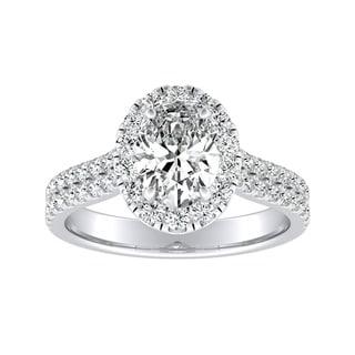 Auriya Plat 1 1/2ct TDW Oval Diamond Split Shank Halo Engagement Ring - White G-H