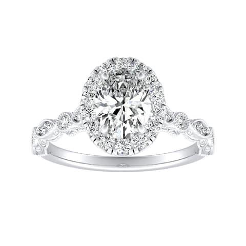 Auriya Platinum 1 1/3Vintage Oval-cut Halo Diamond Engagement Ring