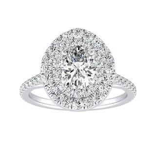 Auriya Platinum 1 1/2ct TDW Oval Diamond Double Halo Engagement Ring - White G-H